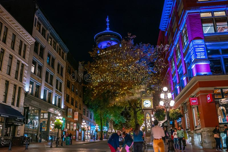 Old Steam Clock in Vancouver`s historic Gastown district at night royalty free stock photos