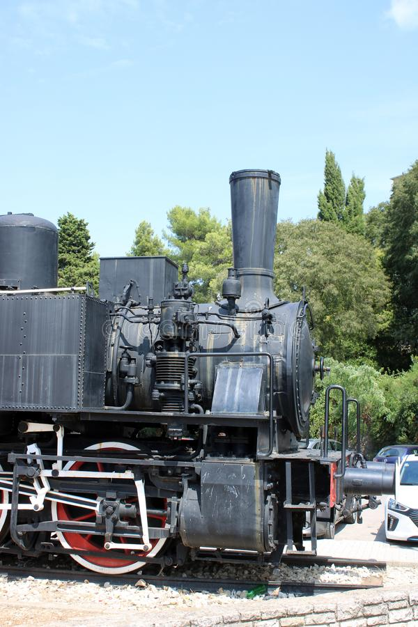 Old steam locomotive on display, Pula, Croatia stock photography