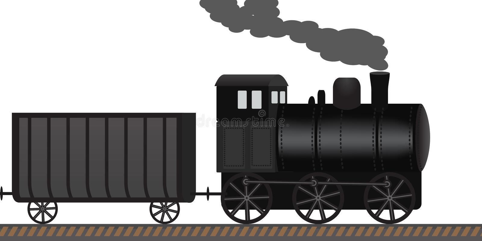 Old steam locomotive drags wagons along the railway. Retro vector illustration