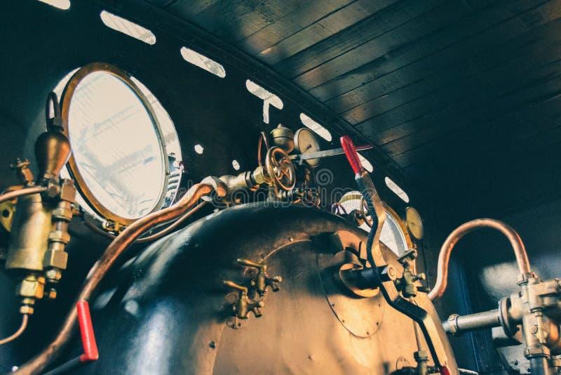 Old steam locomotive. Interior mechanisms. Steam machine stock photography