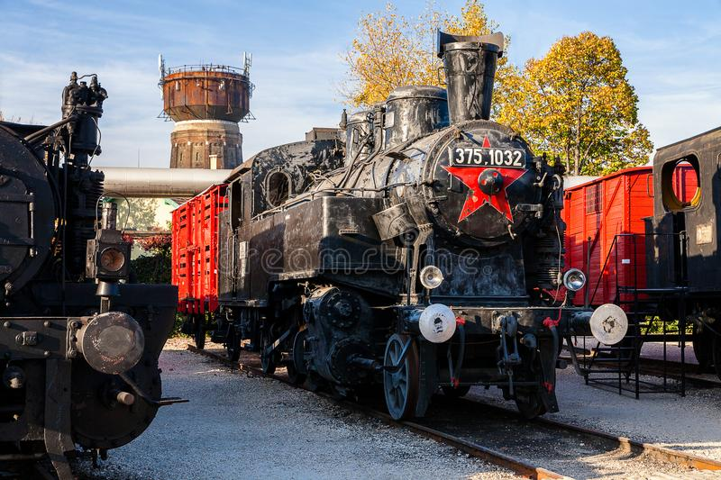 Old steam locomotive in train museum, Budapest stock photos