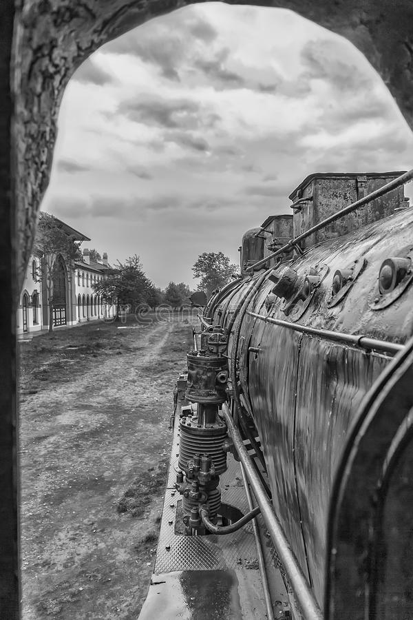 Old steam locomotive window with a view of outside. royalty free stock photos