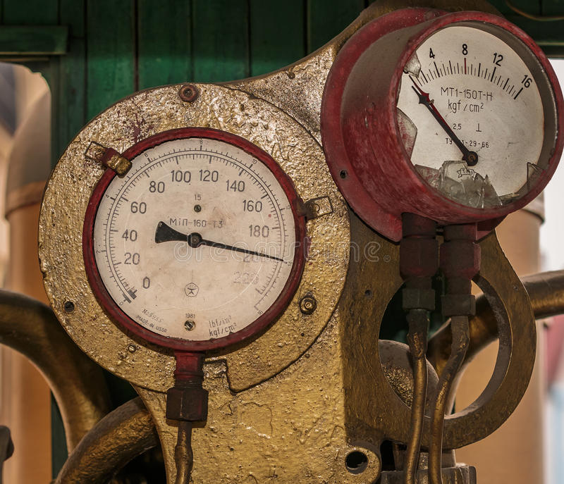 Old steam train gauges royalty free stock image