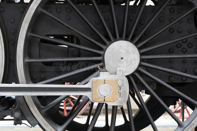 Old steam train wheels detail royalty free stock photo