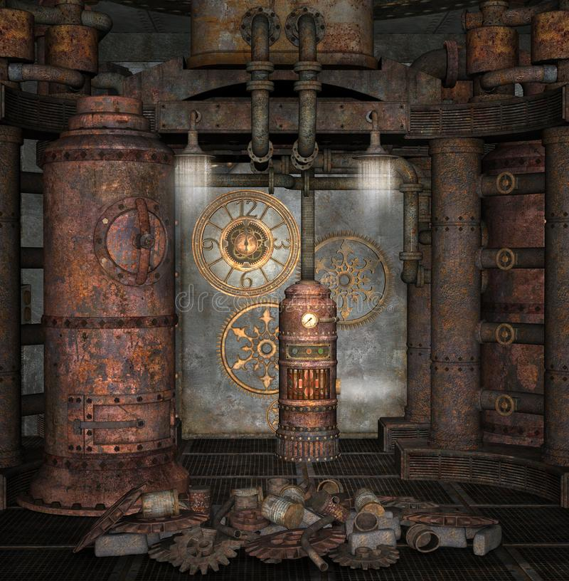 Steampunk boiler room with golden clocks. Old steampunk laboratory detail with cogs and wheels - 3D illustration royalty free illustration