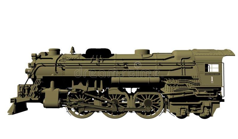 Old Steel Locomotive Isolated On White Stock Photos