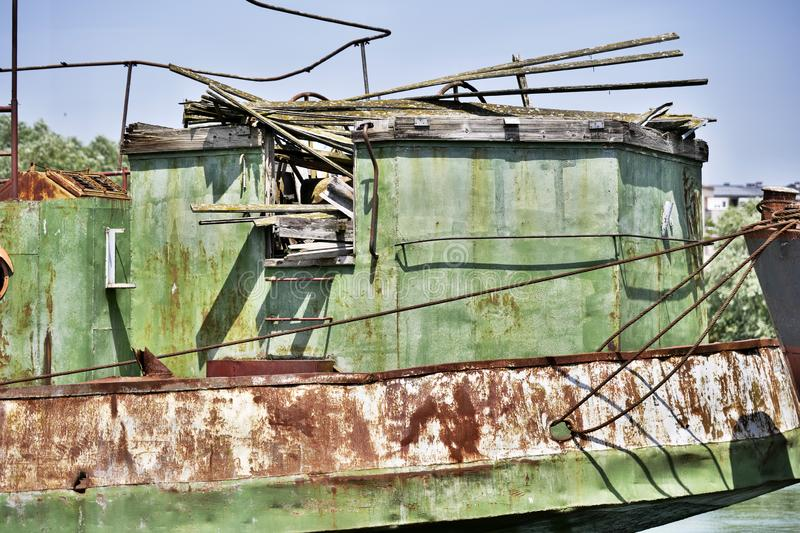 Old standing rusty steel Ship stock image