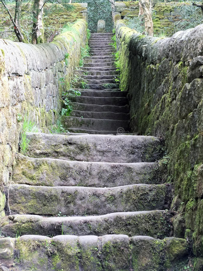 Old steep stone steps royalty free stock photos