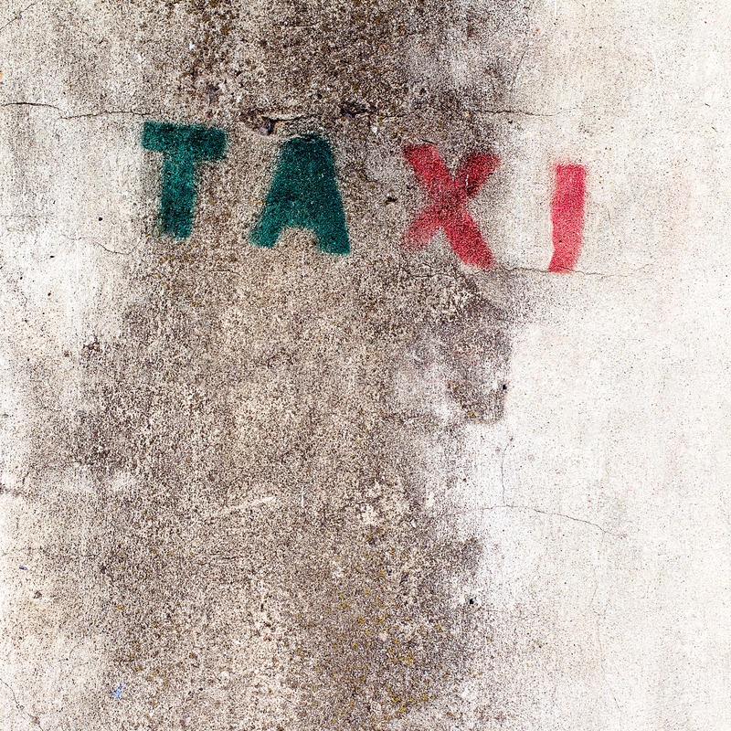 Download Old Stencil Taxi Sign On The Wall Stock Photo - Image: 30158702