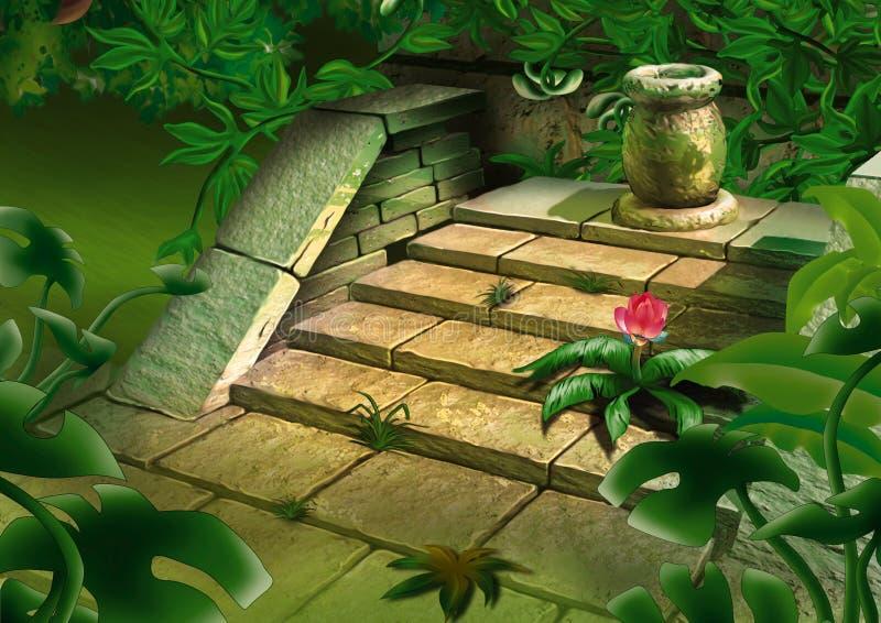 Old steps in jungle vector illustration