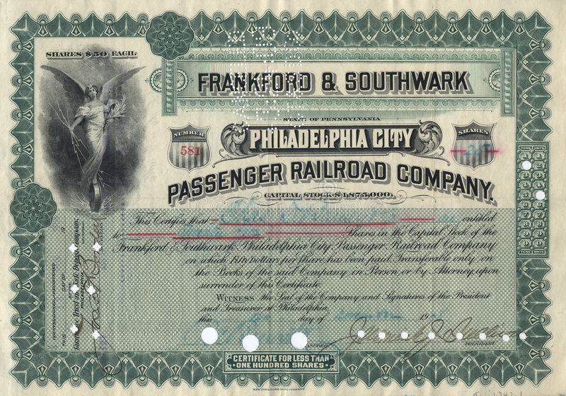 Old Stock Certificate 3 stock images