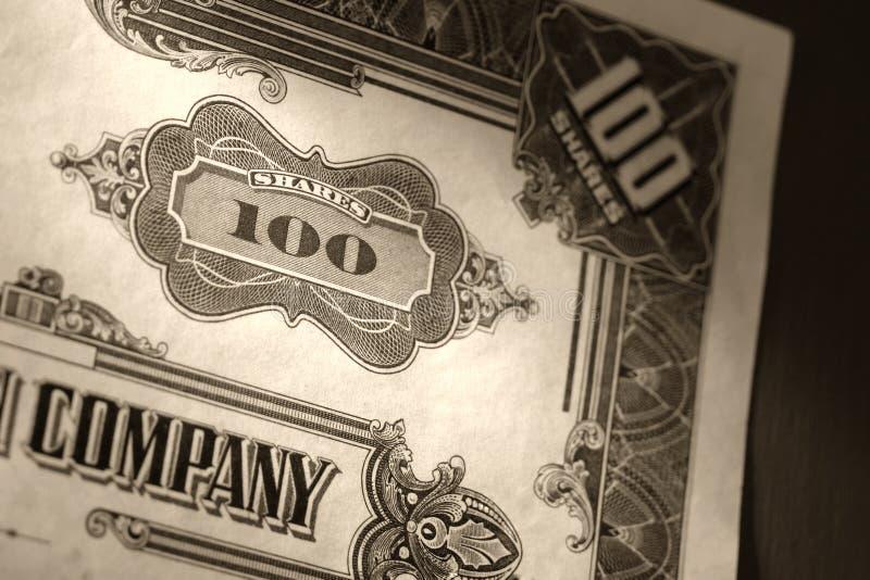 Old Stock Market Shares Vintage Certificate. Old company stock market one hundred common shares vintage certificate stock photos