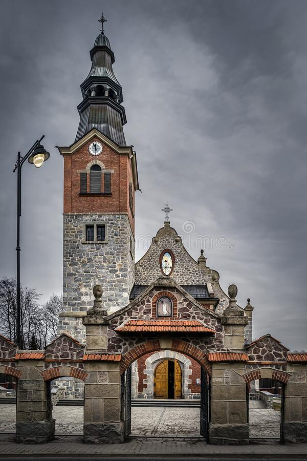 Free Old Stone And Brick Church With Clock Tower In Bialka Tatrzanska, Poland Royalty Free Stock Images - 197158669