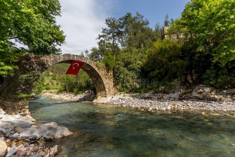 Old Stone Bridge Over The Mountain River Stock Image ...