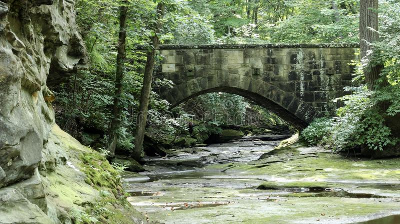 Stone walking bridge over peaceful flowing river in a park setting. Old stone bridge over a river with lush green landscape and large boulder rocks stock image