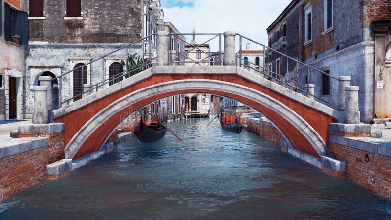 Old stone bridge over water canal in Venice, Italy vector illustration