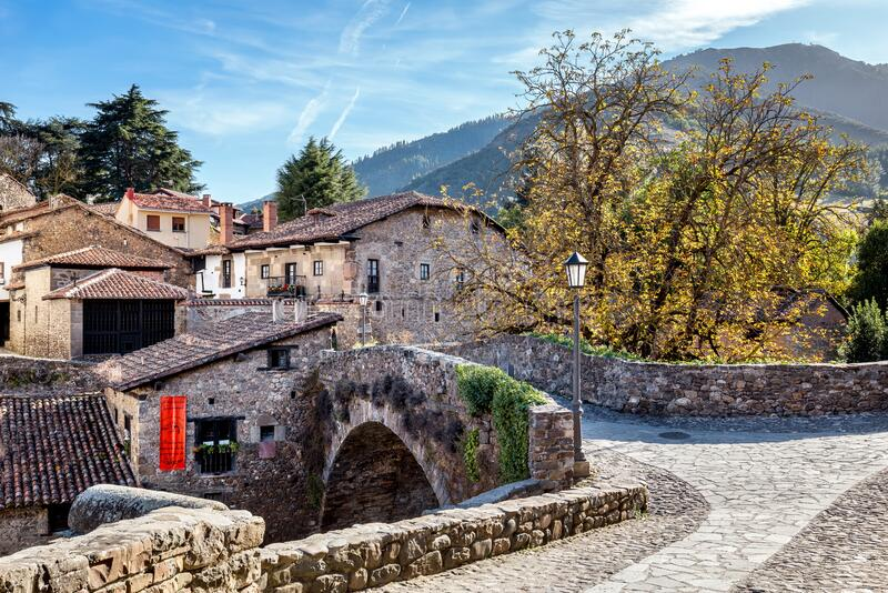 The old stone bridge in Potes, North Spain royalty free stock photo