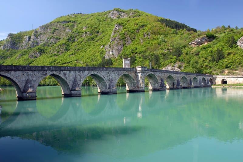 Old stone bridge in Visegrad royalty free stock images