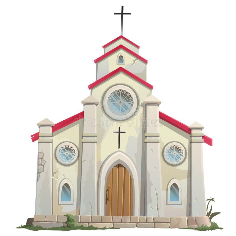 Old stone Catholic Church in cartoon style vector illustration