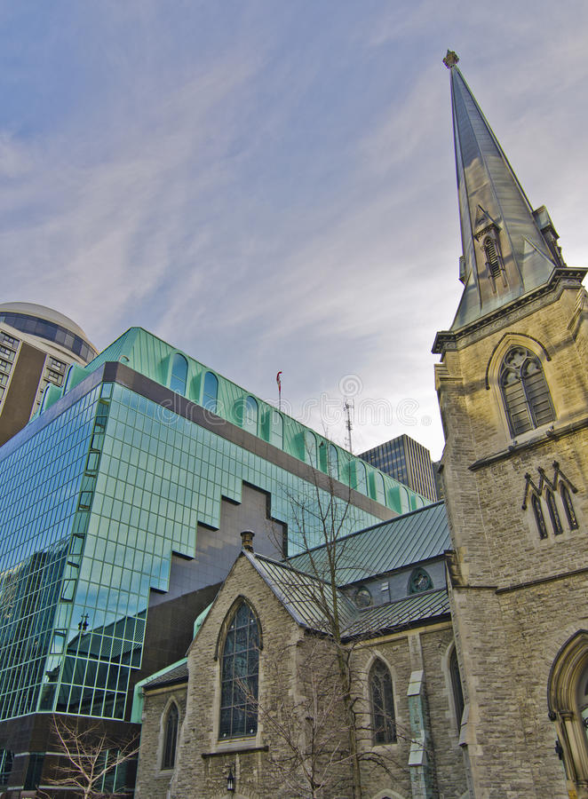 Old Stone Church with New Modern Addition stock photography