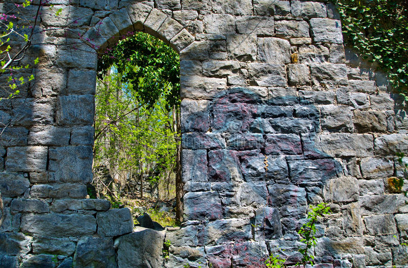 Old stone church ruins in Patapsco State Park in Maryland royalty free stock images