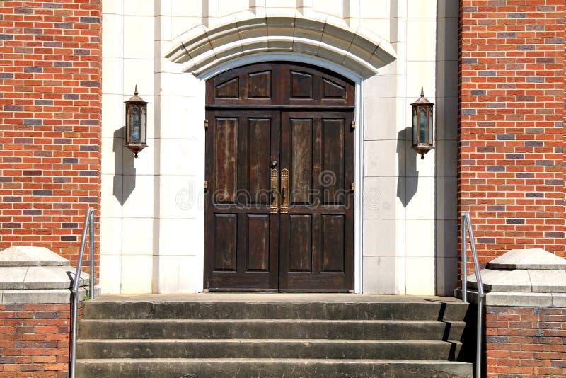Old stone church wood doors brick steps royalty free stock image