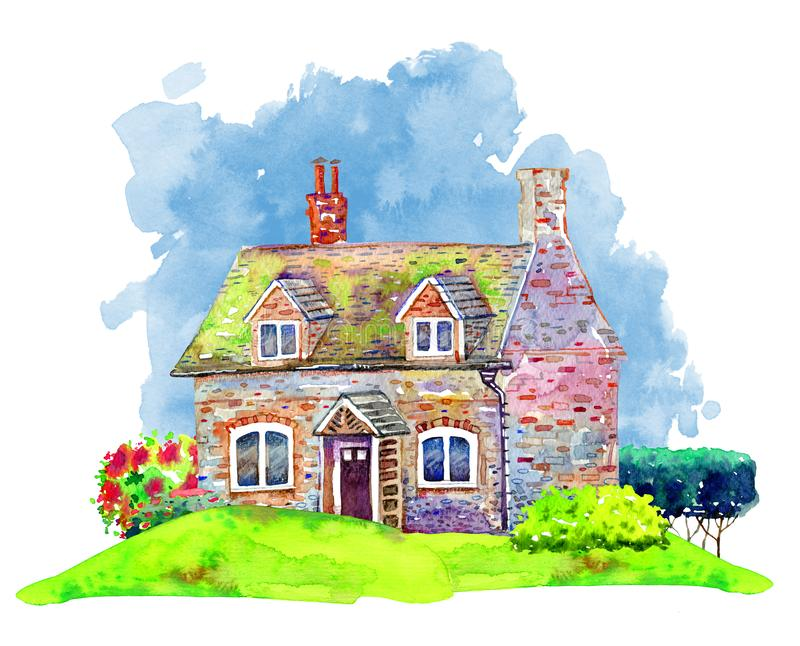 Old stone country house with plants on green lawn. Hand drawn watercolor illustration with blue spot vector illustration