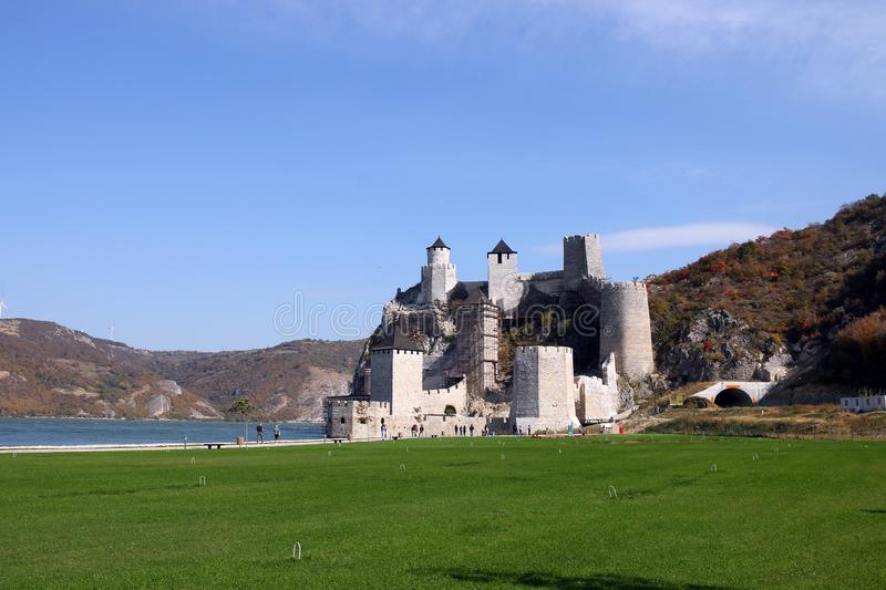 Old stone Golubac fortress on the Danube river landscape. Serbia stock images