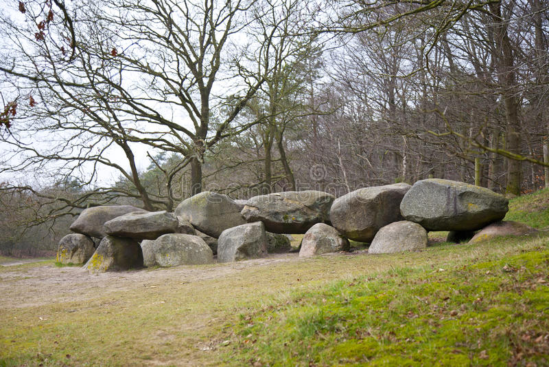 Old stone grave dolmen in Drenthe, The Netherlands stock photo