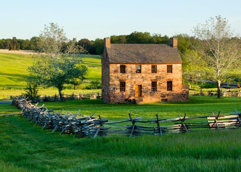 Old Stone House Manassas Battlefield. The old stone house in the center of the Manassas Civil War battlefield site near Bull Run stock photo