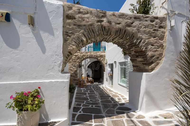 Old stone house in Naoussa town, Paros island, Greece stock images