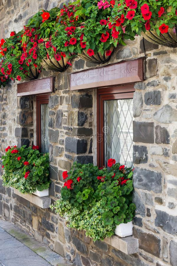 Old stone house windows with red flowers. Old stone house windows decoreted with red flowers in pots and hanging baskets royalty free stock photos