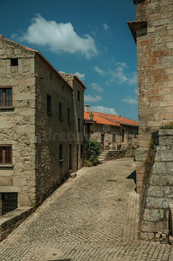 Old stone houses on a corner of deserted alley in Monsanto royalty free stock photo