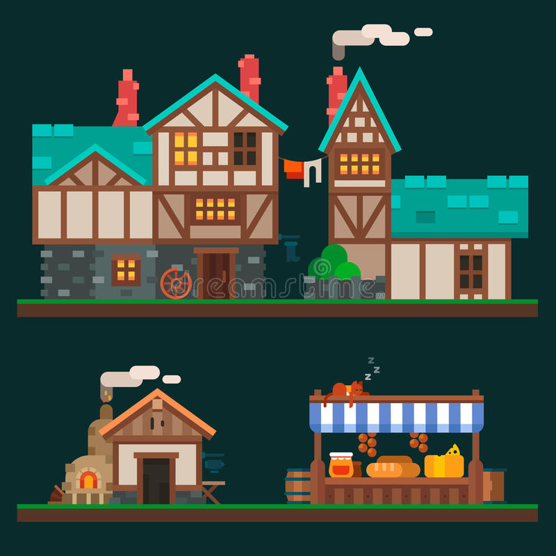 Old stone houses vector illustration