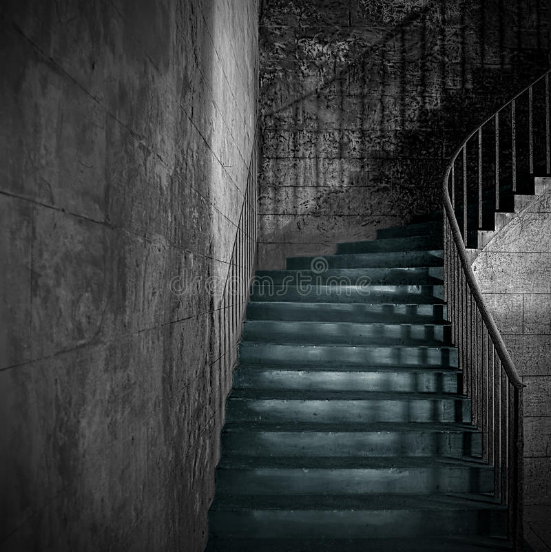 Free Old Stone Interior Staircase With Rusty Handrail Stock Images - 47734114