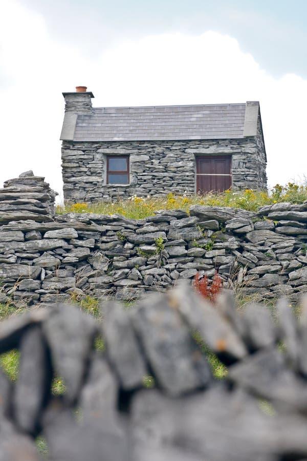 Old stone Irish house, Inisheer, Ireland stock images
