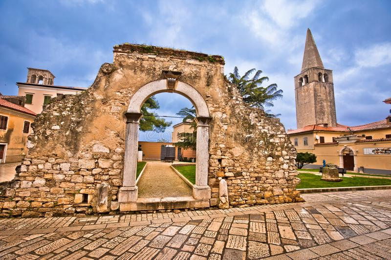 Old stone landmarks of Porec. Town in Istria region of Croatia stock image
