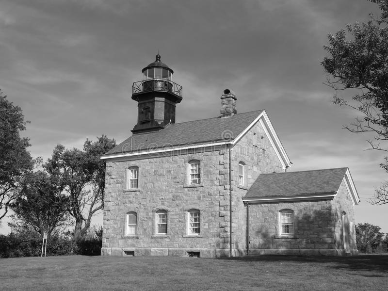Old Field Stone Lighthouse at Old Field, Long Island, New York stock photo