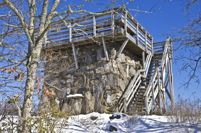 Old Stone Lookout Tower in Winter stock photos