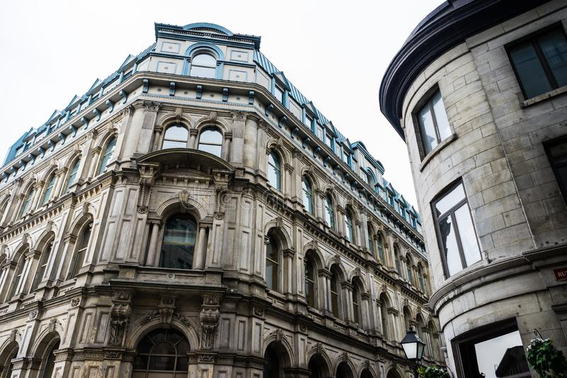 Stone lowrise buildings in the heart of Old Montreal stock photo