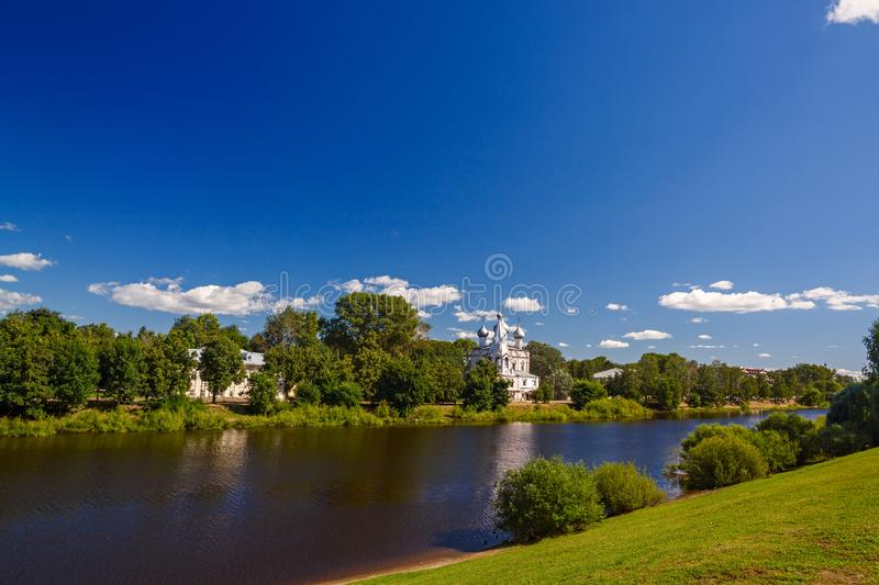 Old stone Orthodox Church on banks of the river in Russia. Old stone Orthodox Church on the banks of the river in Russia stock photography