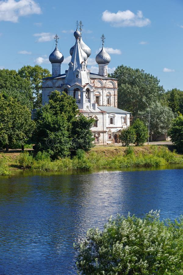 Old stone Orthodox Church on banks of the river in Russia. Old stone Orthodox Church on the banks of the river in Russia stock images
