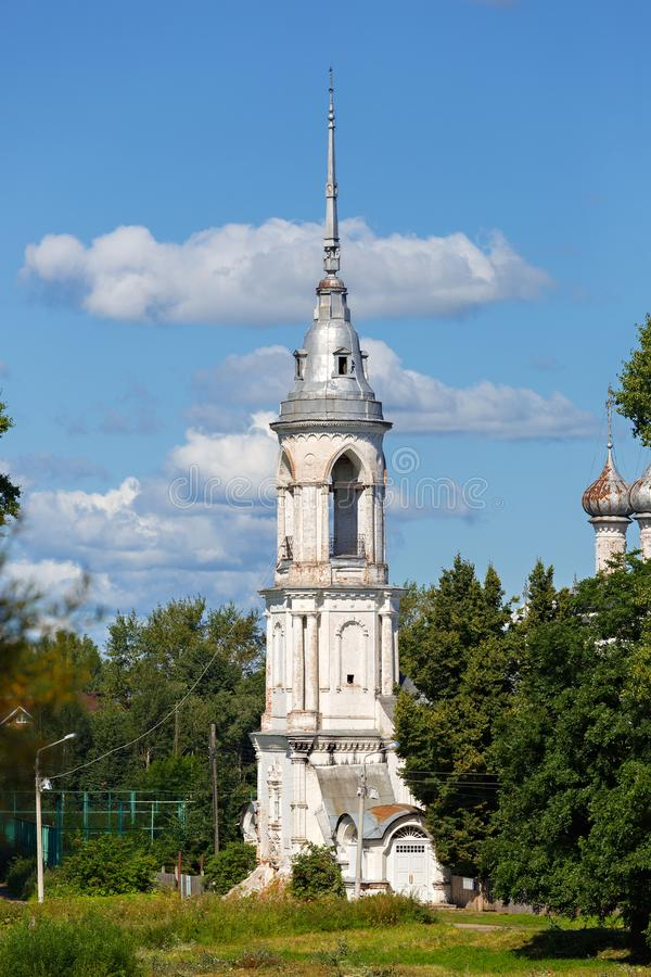 Old stone Orthodox Church on the banks of the river in Russia.  stock photos