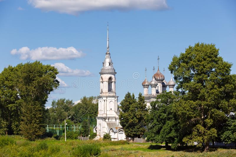 Old stone Orthodox Church on the banks of the river in Russia.  royalty free stock photo