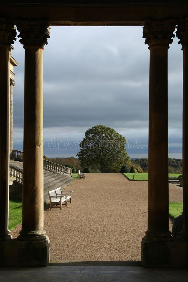 Old stone pillars and courtyard, wrest park, west midlands royalty free stock photos