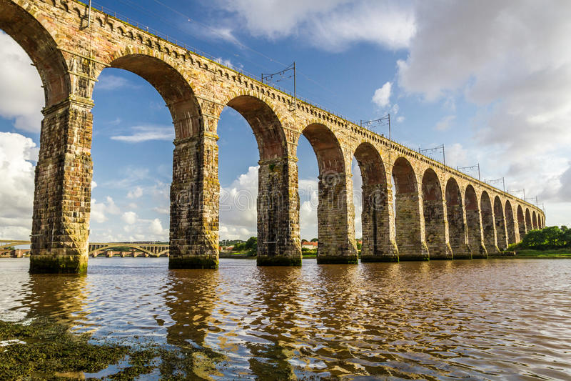 Old stone railway bridge in Berwick-upon-Tweed royalty free stock images