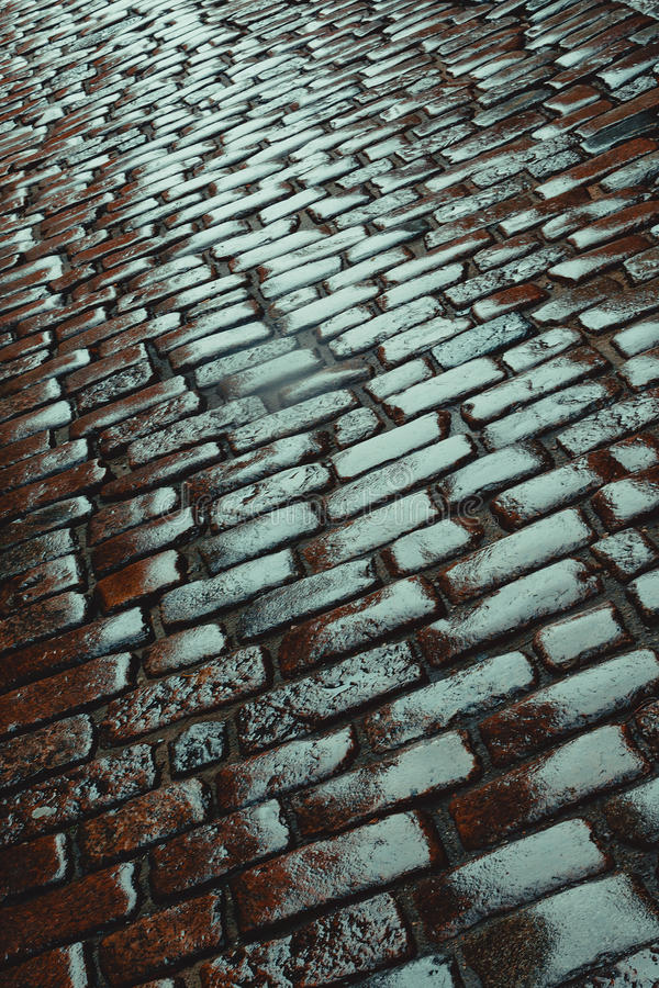Old stone road. After last autumn rain royalty free stock photo