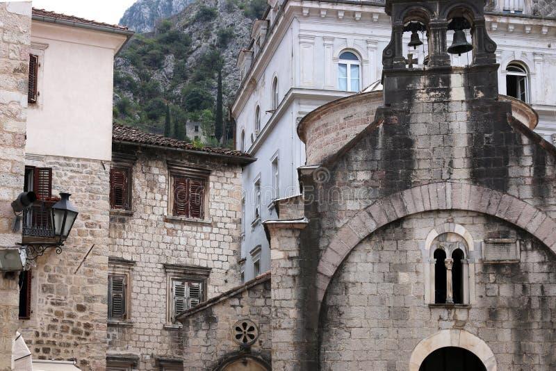 Old stone Saint Luke church and buildings Kotor town. Montenegro stock photo