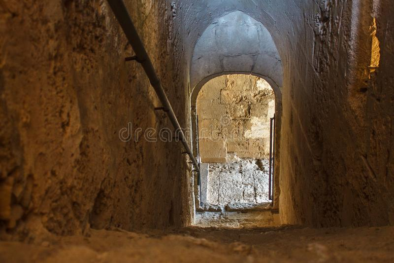 Old stone staircase in the Abbey of Bellapais in the Northern Cyprus. royalty free stock photo