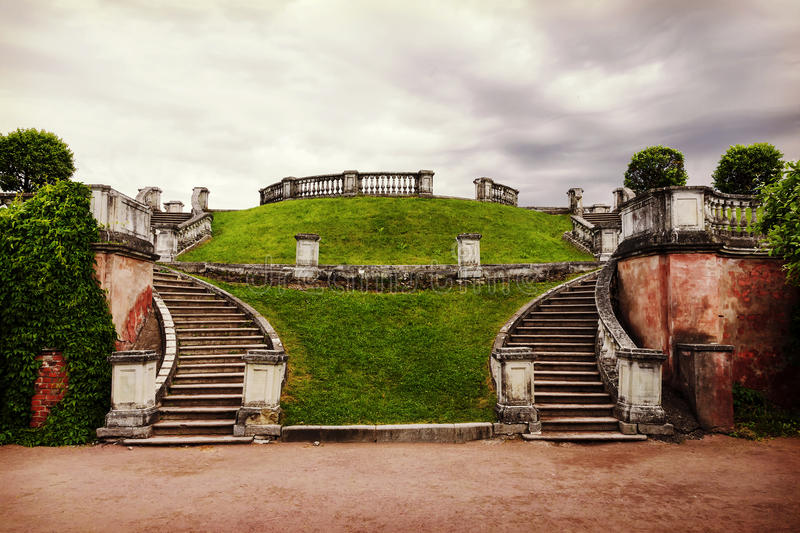 Old stone staircase in a deserted park royalty free stock photos
